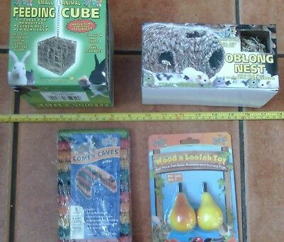 Small animal nest, feeding cube and cave and loofah toy - hamster, gerbil, etc