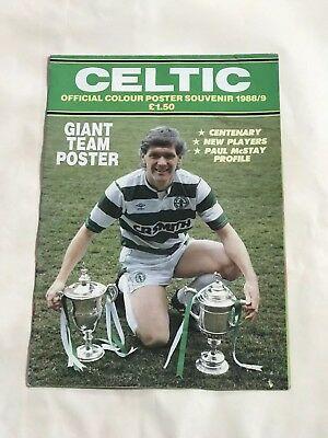1988 Celtic Centenary Season Official Poster Massive Pull Out See Photos !