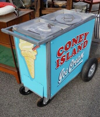 Hand Painted 1950's Ice Cream Cart with two compartments all in working order!