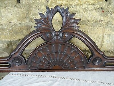 "57"" Antique French Carved Wood Architectural Pediment Panel Solid Mahogany"