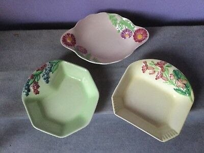 Art Deco CARLTON WARE 3 x Unusual Flowers & Shapes JAM DISHES inc PINK DAISY 30s