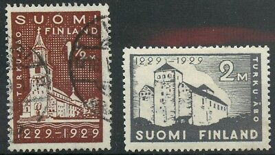 Finland 1929 700th anniversary of Abo 1½m & 2m (small thin) used & MM mint