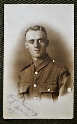 WWI British Soldier ID'd & Dated 1918 - RPPC
