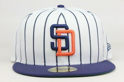 ce94d6576fc San Diego Padres White Navy Pinstripe 1998 MLB New Era 59Fifty Fitted Hat  Cap