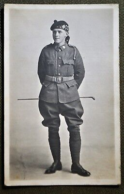 WWI Young Scottish Soldier Standing w/ Riding Crop RPPC