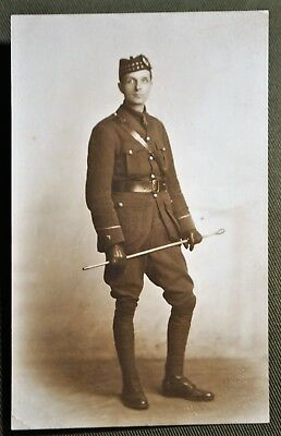 WWI Scottish Officer With Riding Crop - RPPC