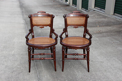 Superb Pair of Ornate Solid Walnut Victorian Cane Seat Chairs ~ Ca.1880