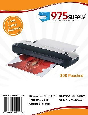 """975 Supply 7mil. Letter Thermal Laminating Pouches. 9 x 11.5"""" - 100 Pouches"""