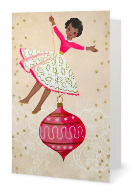 African American Girl Pink Christmas Holiday  Cards (Pack of 5 Cards)