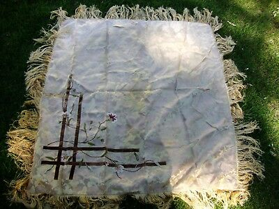 Antique Victorian Edwardian Table Throw with Embroidery and Silk Fringe