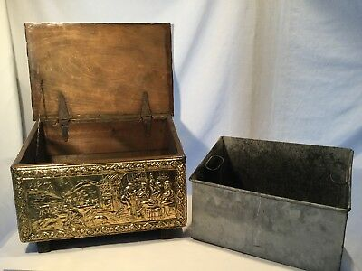 Vtg Hammered Brass English Tavern Scene - Coal, Tinder, Kindling, Chest  Box