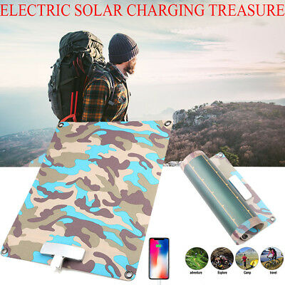 5V 7.7W 1200mAh Foldable Solar Panel Charger Pack USB Power Bank for Smartphone