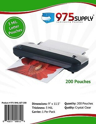 """975 Supply 3 mil. Letter Thermal Laminating Pouches. 9"""" x 11.5"""". - 200 Pouches"""