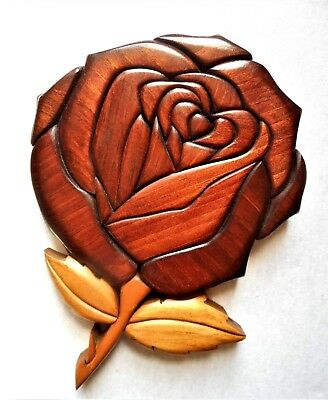 LOVELY! Hand Made Crafted INLAID Wood Wooden ROSE Floral Flower Wall Art HANGING