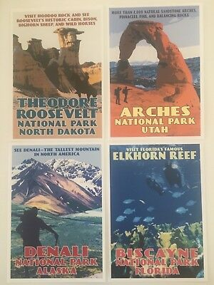 """Set Of 4 National Park Art Postcards Wpa -New From Sierra Club 5 1/2"""" X 3 3/4"""""""