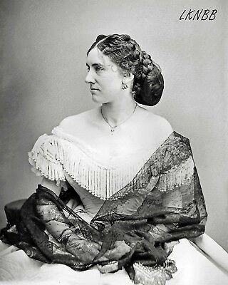8 x 10 Reproduction Photo Print Lovely 1860s Woman Ball Gown, Black Lace Shawl