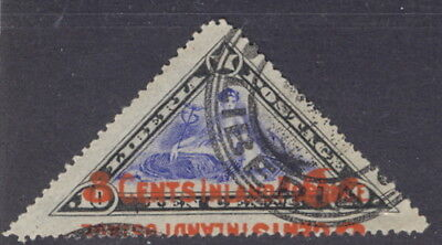 Liberia 1912, 3c Inland on 10c off. triangle, overprint MISPLACED, used #O71