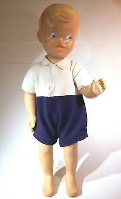 """Original Buster Brown Shoe Store Display Boy Mannequin 25"""" Tall 1950s"""