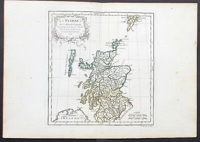 SCOTLAND OLD FRENCH MAP BY VAUGONDY ca 1750