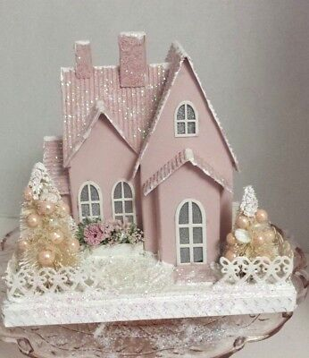 Pink Christmas House Large Putz Cardboard House Painted Pink One Of A Kind