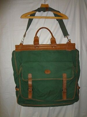 Vtg J Crew Outers Green Canvas Tan Leather Garment Travel Bag Luggage