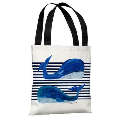 One Bella Casa 73703TT18P 18 in. Whale Buddies Polyester Tote Bag by Timree G...