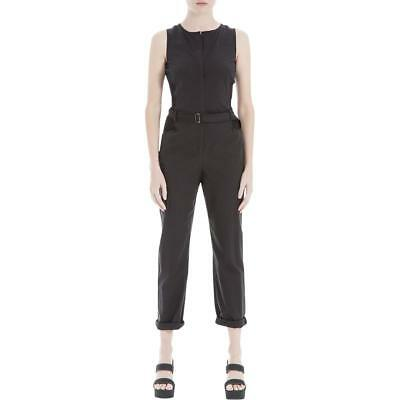 b367ccfb4fb0 Max Studio Womens Black Sleeveless Mixed Media Zip Front Jumpsuit XL BHFO  7945