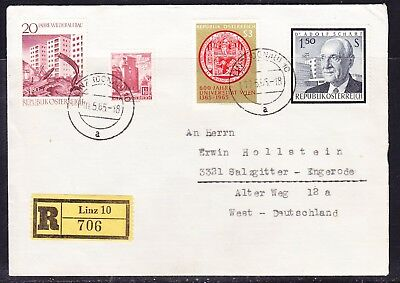 Austria 1965 Registered R706 Letter Linz to Germany