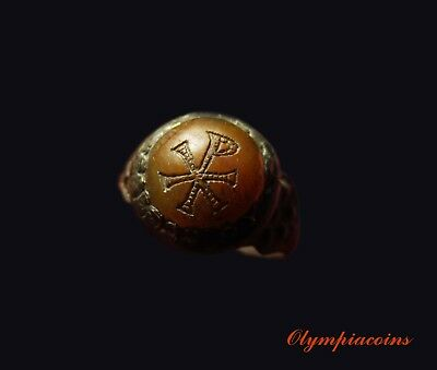 ** OUTSTANDING ** Ancient Byzantine Bronze ring  ** CHI-RHO **
