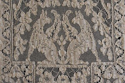 13Pc Rare FIGURAL Antique ALENCON Lace Placemats Runner Griffins Gryphons Hounds