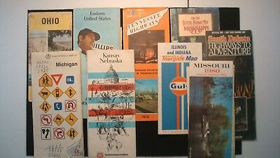 Lot of (9) Road Maps Vintage Tennessee MO SD Michigan Ohio PA