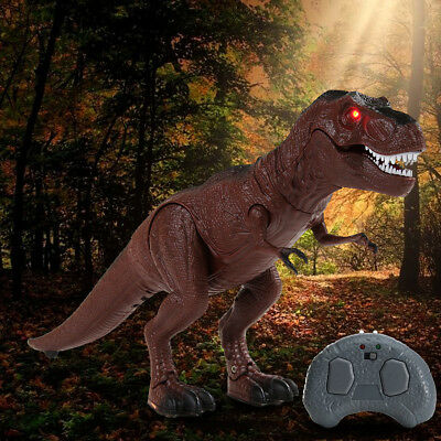 Light Up Remote Walking Dinosaur Kids LED Toy Figure W/ Sound Real Movement Gift