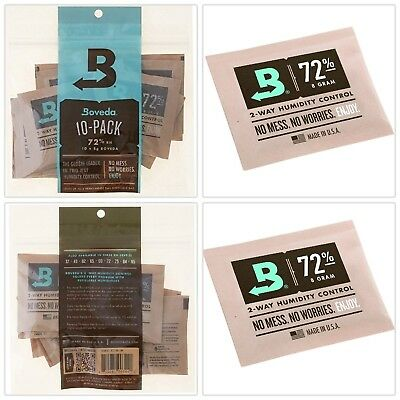 Boveda 72% Rh 2-Way Humidity Control 8 g 10 Pack rehydration of herbs Cigars