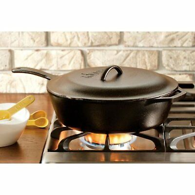 "Lodge 5 Quart 12""  Diameter Deep Skillet ""Chicken Fryer"" with Cast Iron Cover"