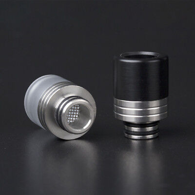 Black/White Stainless Steel Anti Spit Back 510 Drip Tip with Filter Mouthpiece