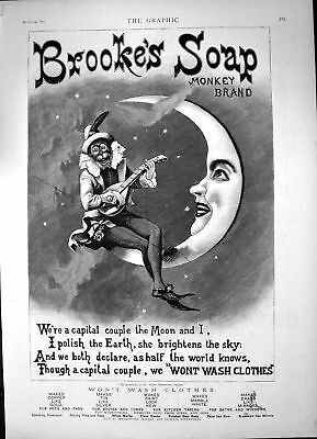 Original Old Antique Print Brookes Soap Monkey Sitting Moon Playing Banjo 1891