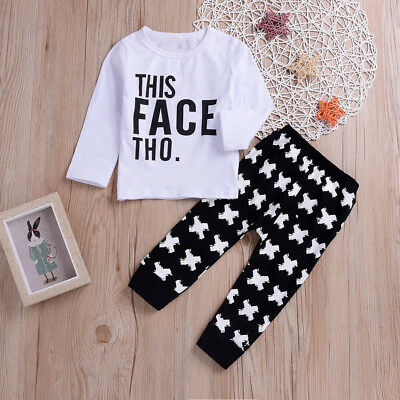 2PCS Toddler Kids Baby Boy Girl Letter Print Top Clothes+Long Pants  Outfit