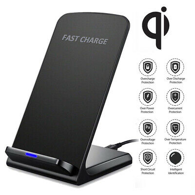 Qi Wireless Charger Fast Charging Stand Dock For Apple iPhone 8 Plus X Samsung