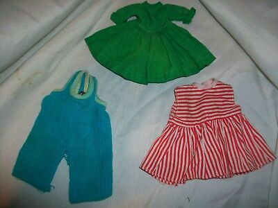 Lot 3 Vintage Doll Clothes Red & White Stripped Dress Corduroy Overalls