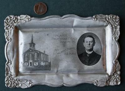 1900-10s Era Glasgow,Delaware Pencader Presbyterian Church aluminum tray-EARLY!