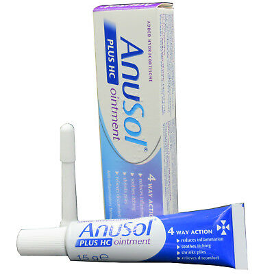 Anusol Plus HC Ointment 15g Haemorrhoids 4 Way Action Anti-inflammatory Formula