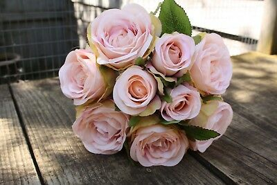 9 x BLUSH MOCHA PEACH & PINK SILK ROSES & ROSE BUDS TIED BUNCH / SMALL BOUQUET