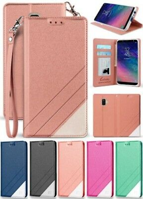 Folio Wallet Case ID Slot Cover Stand + Wrist Strap for Samsung Galaxy A6