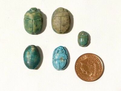 5 x GRAND TOUR Egyptian Blue Glazed Pottery Scarab Beetle Beads Faience #T3