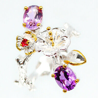 Handmade Jewelry Ring Natural Amethyst 7x5 mm. 925 Sterling Silver / RVS101