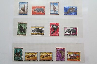 XL3824: Belgian Congo (1959).  Complete Mint Stamp Set to 10F