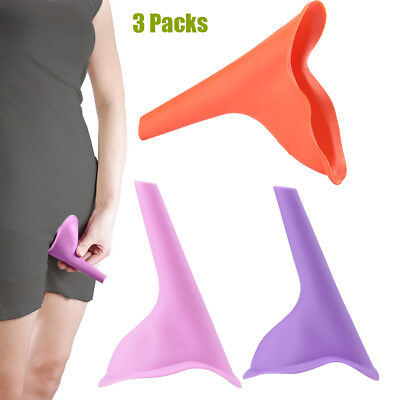 3PCS Reusable Silicone Portable Urinal Women Female Travel Camping NEW
