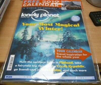 Lonely Planet magazine Jan 2019 Northern lights in Finland, Stockholm + Calendar