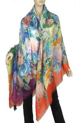 8f423b52a New Gucci Giant Cashmere Silk Floral Blooms Print Stole Shawl Wrap Scarf