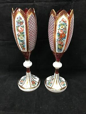 "Antique Pair Of Bohemian Enameled Chalice Goblet Vase? 15"" Tall Nice Pair!!"
